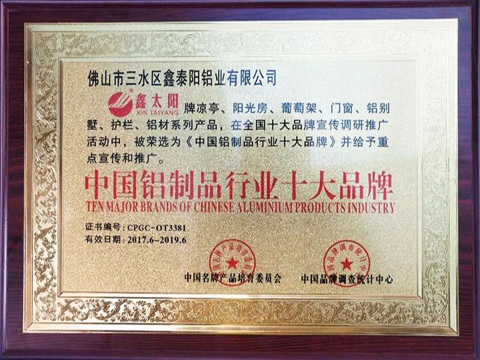 鑫泰阳获得中国铝制品行业十大品牌证书